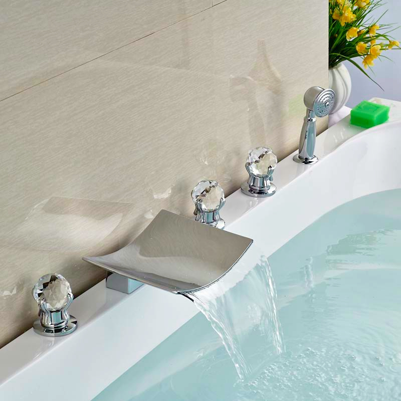 Deck Mounted Brass Chorme Tub Faucet Bathroom Sink Tap 5pcs Three Handles Swivel Spout Tap