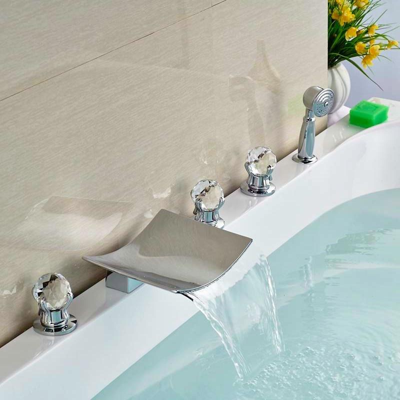 Deck Mounted Brass Chorme Tub Faucet Bathroom Sink Tap 5pcs Three Handles Swivel Spout Tap new tub spout wall mounted bathroom tub spout pool faucet tap golden brass