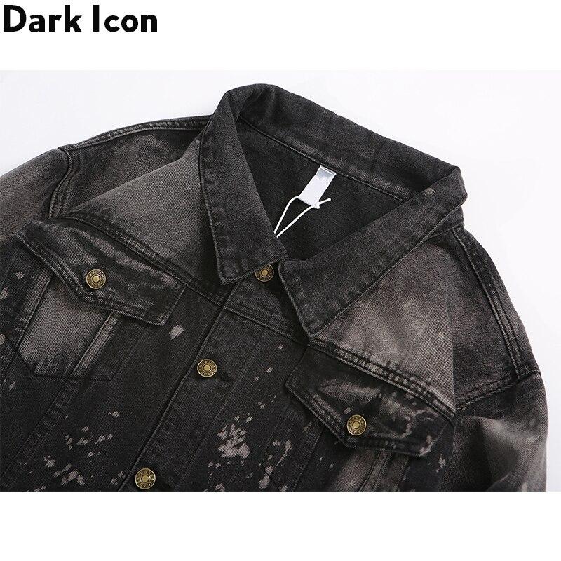 Dark Icon Foil Painting Splatter Denim Jacket Men Turn down Collar Men 39 s Jacket Streetwear Clothes in Jackets from Men 39 s Clothing