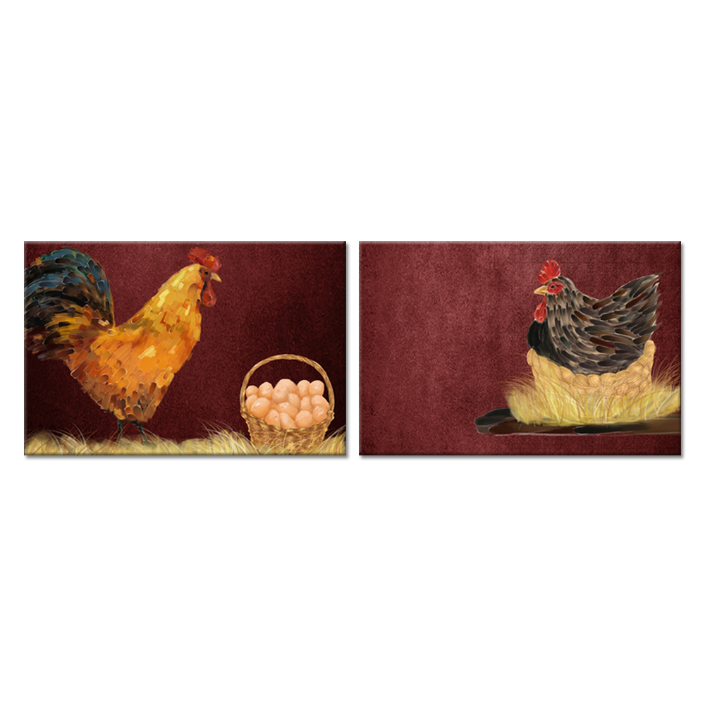 Farm Animal Canvas Wall Art 2 Pieces Set Rooster and Hen Chickens Vintage Picture On Canvas For Farmhouse Country Wall Decor image