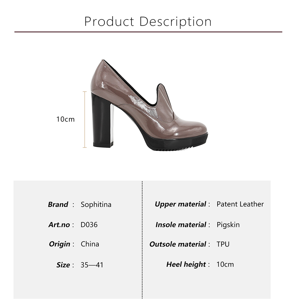 SOPHITINA Brand Patent Leather Pumps Handmade Thick Super High Heels Retro Slip-on Round Toe Shoes Party Office Lady Shoes D36