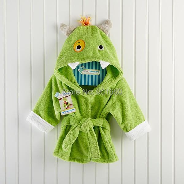 Green Monsterbaby Boy Girl Dressing Gown Splash Wrap Bath Hooded