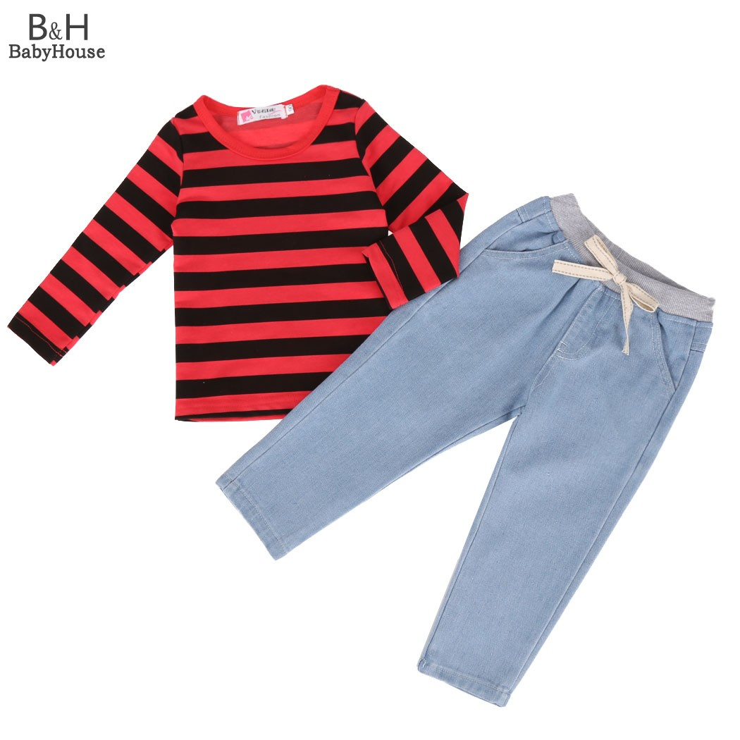 2017 FANALA New Kids Girls Clothing Set Autumn Set 2PCS Outfits T-Shirt Set Long Sleeve Hoodie Tops Girl Denim Pants Set hot