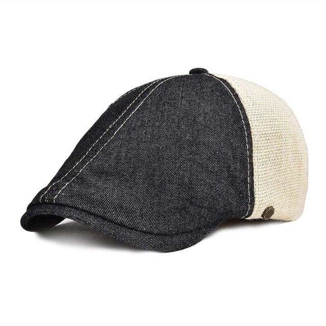 ea46e2c784ee8 VOBOOM verano otoño tapa plana de las mujeres de los hombres de algodón  mitad Lino de malla de Ivy sombrero 6 Panel diseño vendedor boina 143
