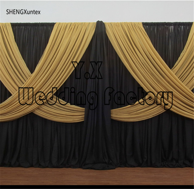 Black And Gold Wedding Backdrop Curtain \\ Stage Background-in Window ...