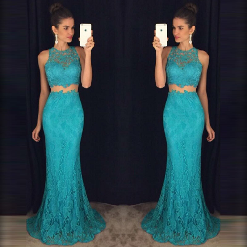 Sexy Mermaid Two Pieces   Prom     Dresses   Long Elegant Appliques Lace Women Party Gown O-Neck Sleeveless Floor Length Evening   Dress