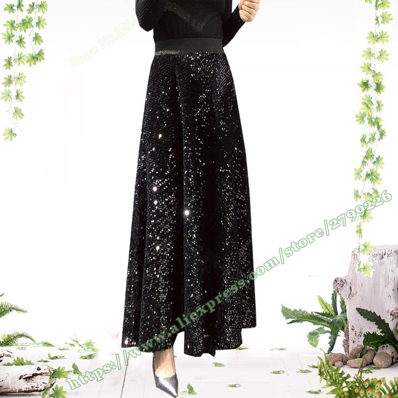 2019 New Spring and Autumn Fashion New Female Velvet Sequined long skirts Womens black green Sequin
