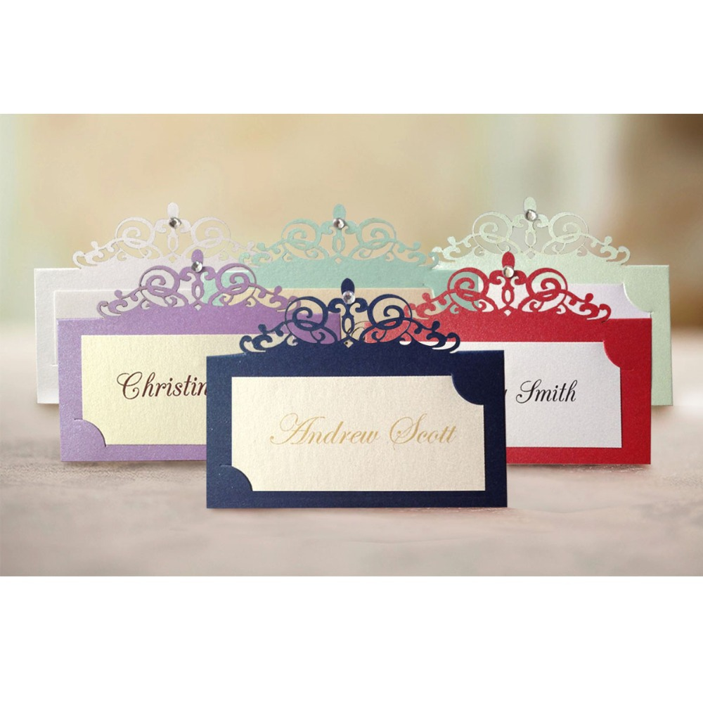 40pcs lot muti colors rhinestone decorated Personalized Place card name card for party and wedding