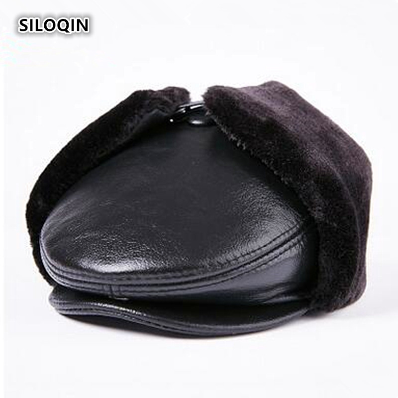 SILOQIN Autumn Winter Genuine Leather Hat Men's Velvet Warm Bomber Hats With Earmuffs New Cowhide Leather Solid Color Tongue Cap(China)