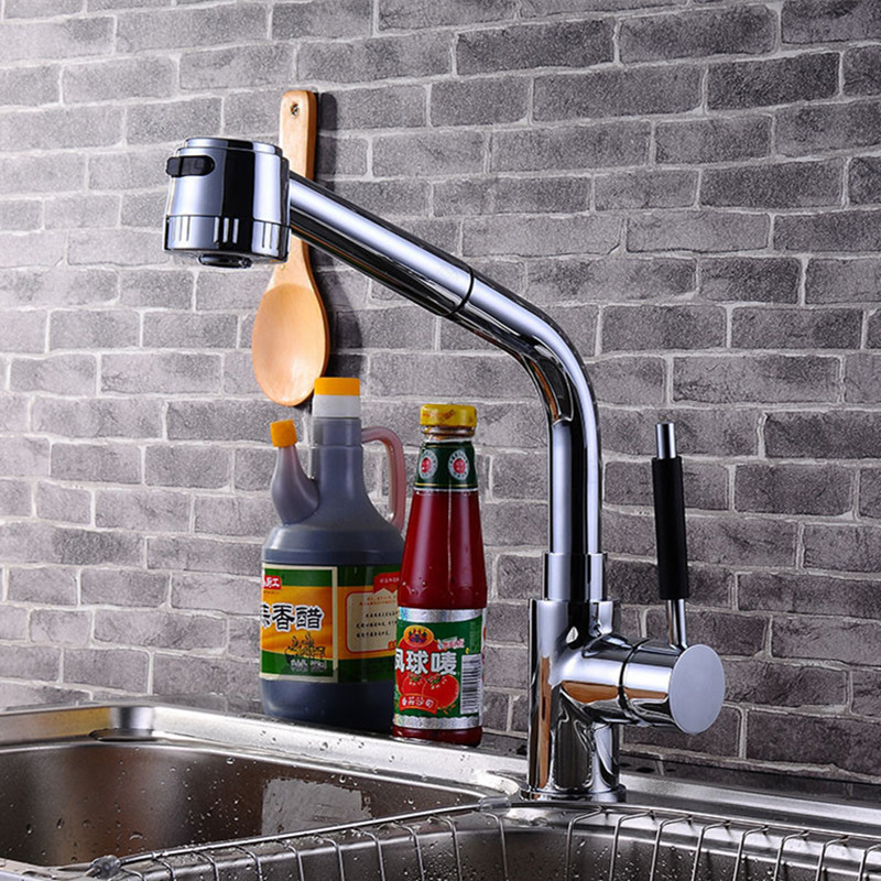 ФОТО Free shipping Boutique sanitary ware deck mounted kitchen mixer tap with top quality polished chrome brass kitchen sink taps