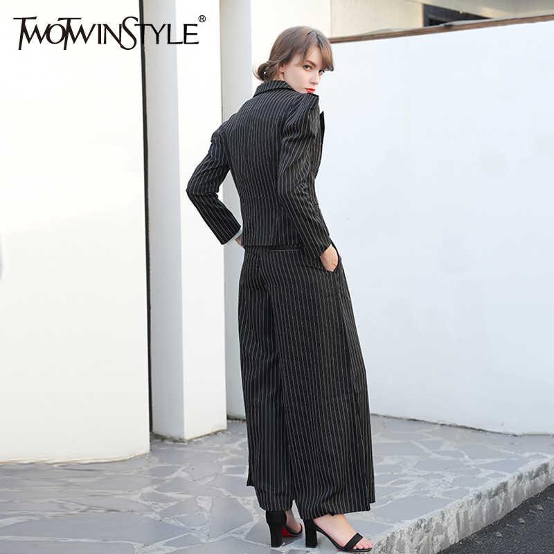 TWOTWINSTYLE שחור של נשים פסים שרוול ארוך נשי מעיל מעיל בגדי חולצות תחפושות כתפיים רחבות גדולה הגדולה מידות
