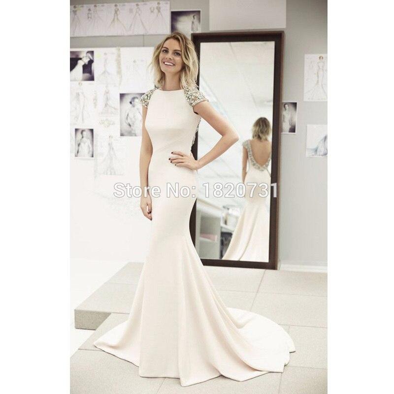 Beaded Mermaid Evening   Dresses   Sleeveless Scoop Sweep Train Floor-Length Formal   Dresses   Cap Sleeve 2019   Prom     Dress   Pletyth