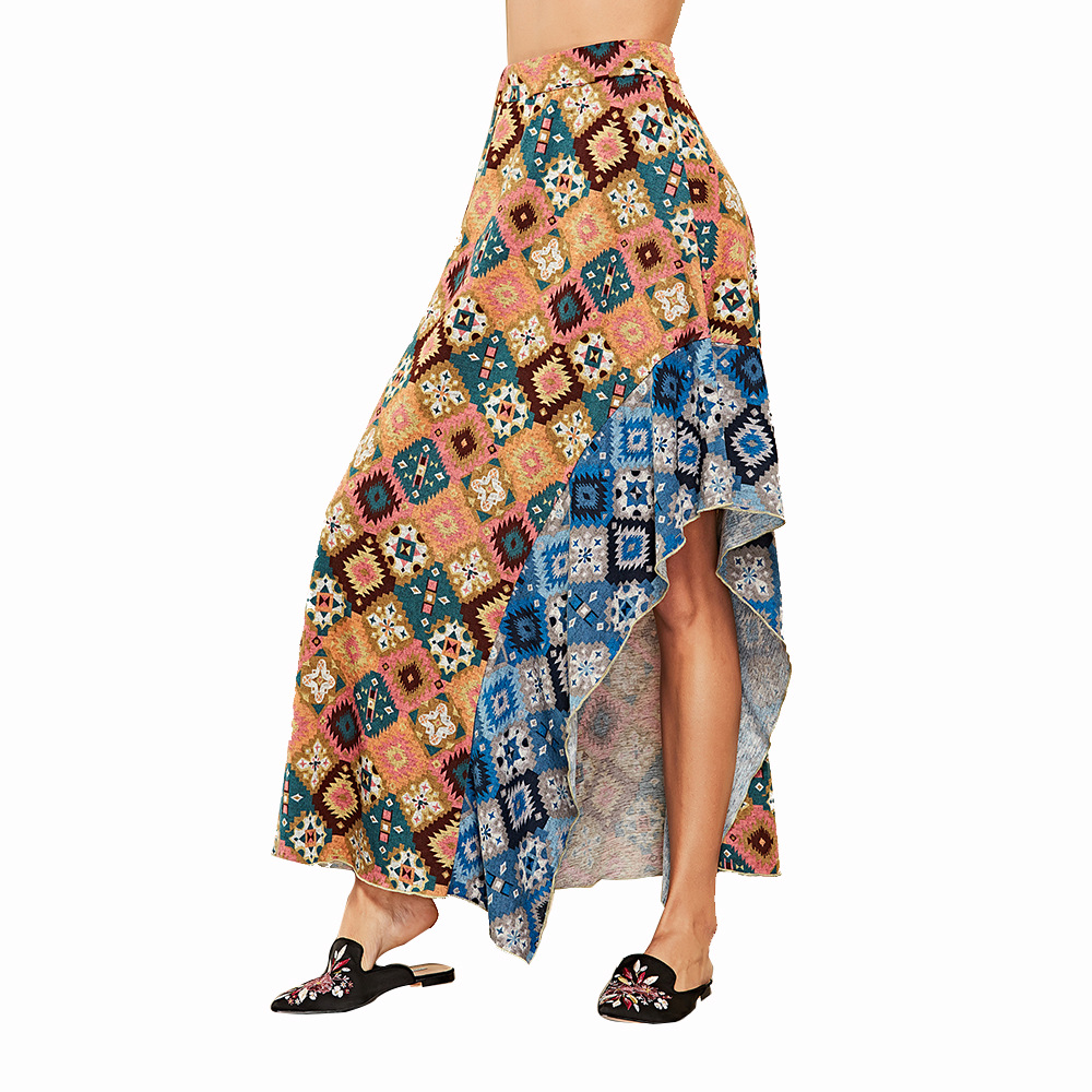 High waist sashes wrap long skirts Women floral spring summer skirts female Geometric stitching Asymmetric beach summer skirt in Skirts from Women 39 s Clothing