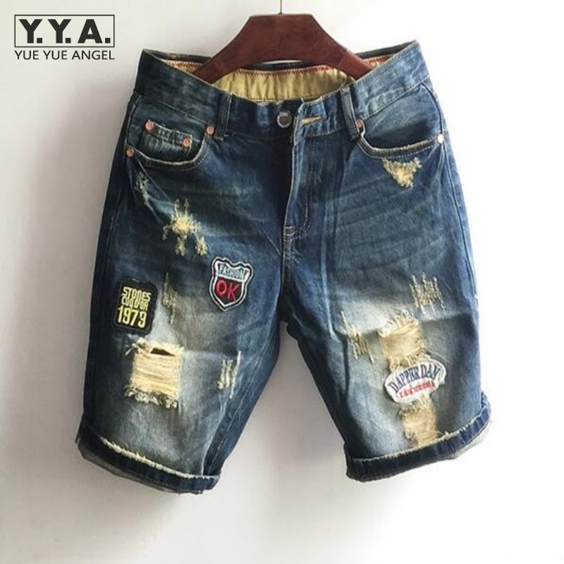 ФОТО Mens Summer Demin Jeans Hole New Style Patchwork Short Jeans Thin Breathable Shorts Scratched Youthful Short Jeans For Male