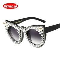 Winla Fashion Design Cat Eye Sunglasses Rhinestone Luxury Women Sun Glasses Gradient Lens Vintage Shades Oculos