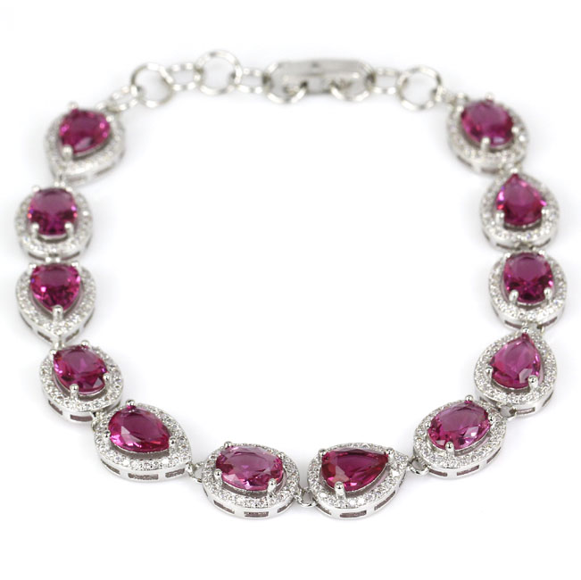 Stunning Pink Tourmalins, White CZ SheCrown Wedding Party Silver Bracelet 7.5inch 25x10mm