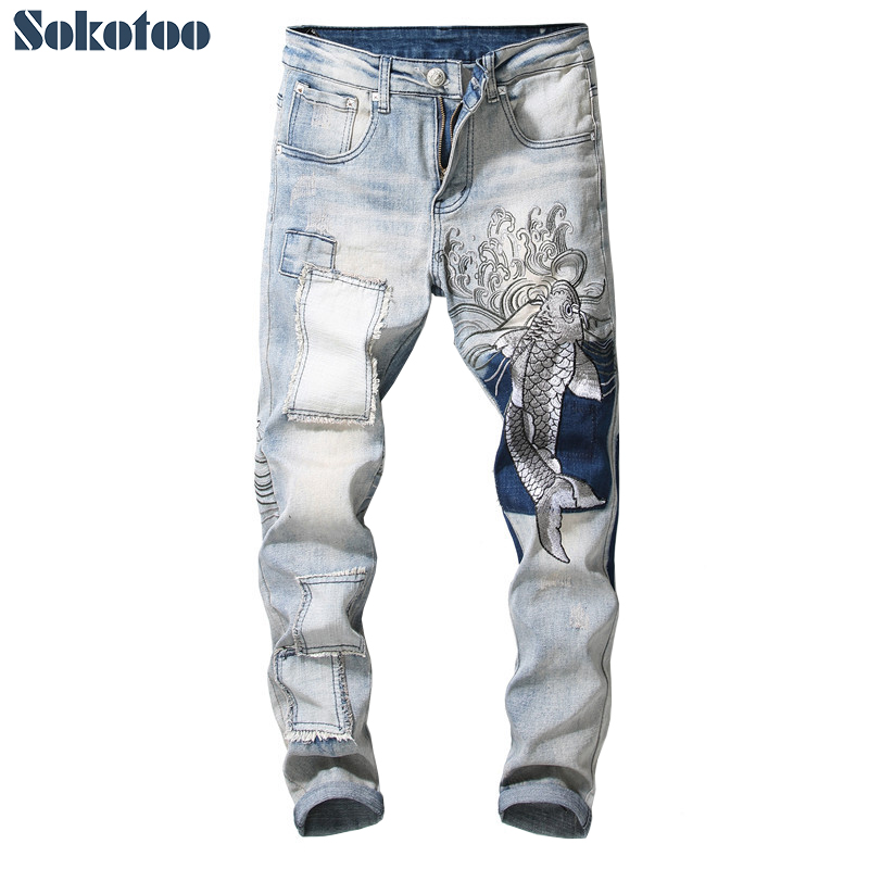 Sokotoo Men's Vintage Carp Embroidery Patchwork Jeans Slim Fit Straight Stretch Denim Pants