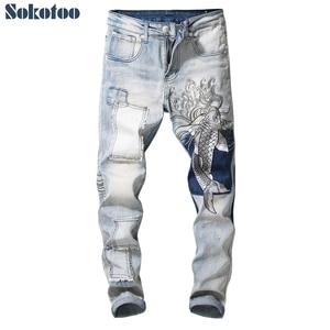 Image 1 - Мужские джинсы с вышитым карпом Sokotoo винтажные зауженные брюки с заплатками стрейчевые джинсовые штаны