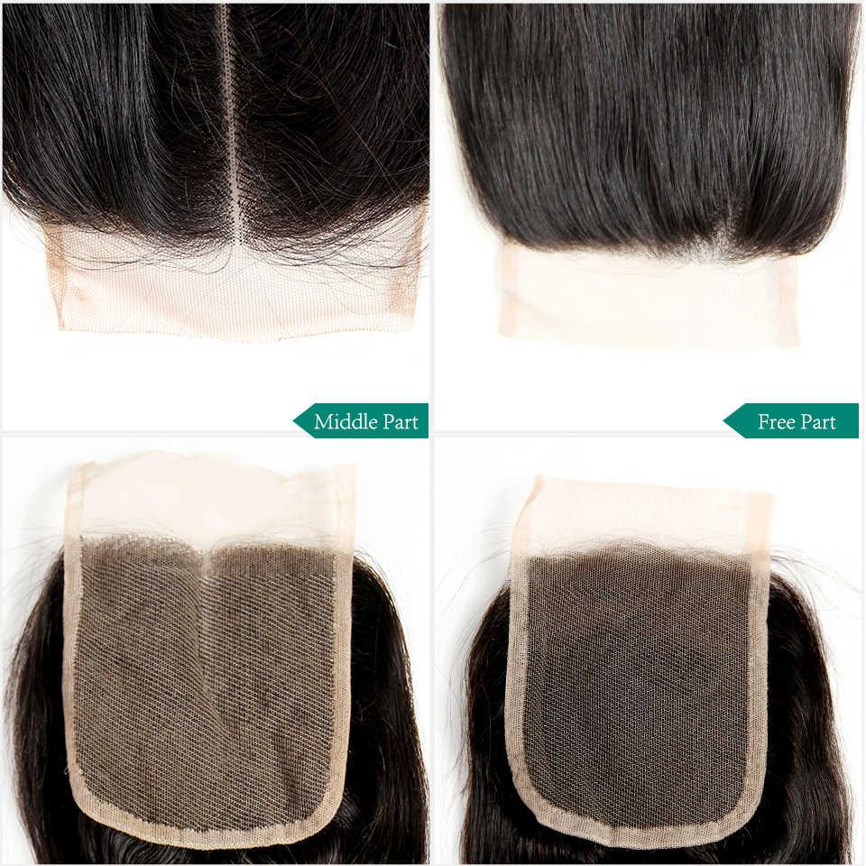 Ali Grace Haar Peruaanse Straight 4*4 Kant Sluiting Midden Gratis Hand Gebonden Zwitserse Kant Remy Human Hair sluiting Natuurlijke Kleur