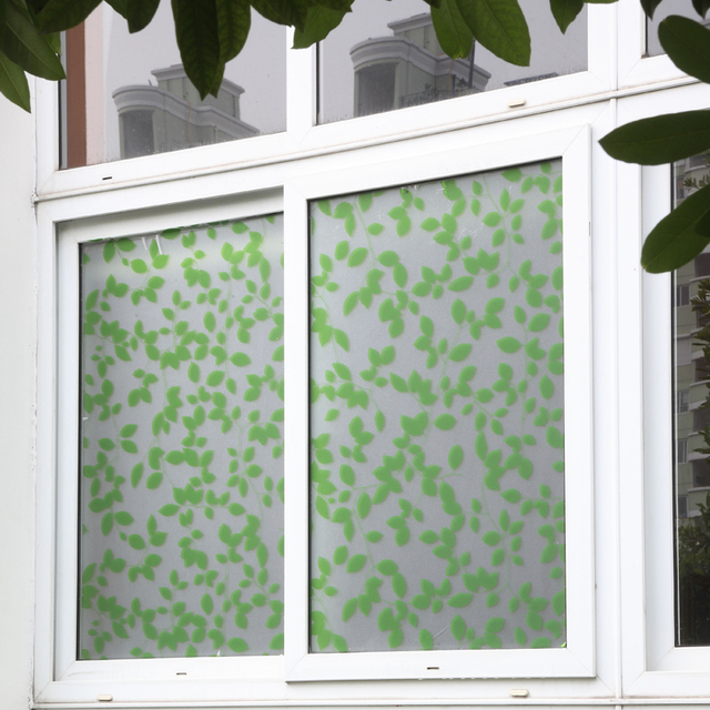 Fashion Static Green Leaves Gl Frosted Window Film Sticker Room Privacy Protection Decorative