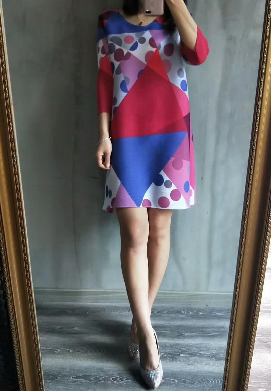 Mode Trimestre pourpre vert Red Bleu Stock Miyake Livraison rose Fold Imprimé Longue T Gratuite shirt En Géométrique Trois xXEqnTZ6