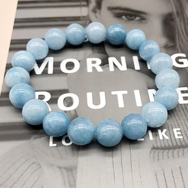 REGELIN 4/6/8/10/12mm Natural Stone Angelite Round Loose Beads Bracelets jewelry for women Gift Men Bracelet Drop Shipping