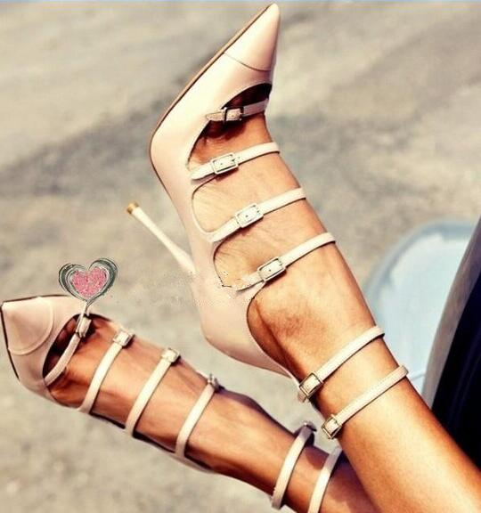 Solid nude color buckles strap pointed toe high heels ankle boots cut-outs buckles strap stiletto heels summer booties 35-42 stiletto metallic ankle strap heels