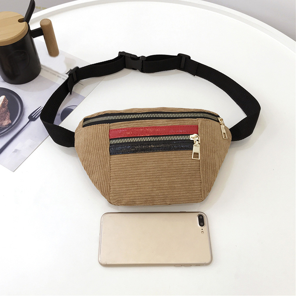 2019 Korean fashion zipper phone women waist bag Patchwork casual fanny shoulder pack 2019 new chest small Corduroy money purse in Waist Packs from Luggage Bags