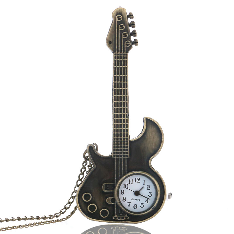 Antique Bronze Copper Guitar Shape Quartz Pocket Watch Vintage Necklace Pendant Clock for Man Women Gift Reloj De Bolsillo P130 antique retro bronze car truck pattern quartz pocket watch necklace pendant gift with chain for men and women gift