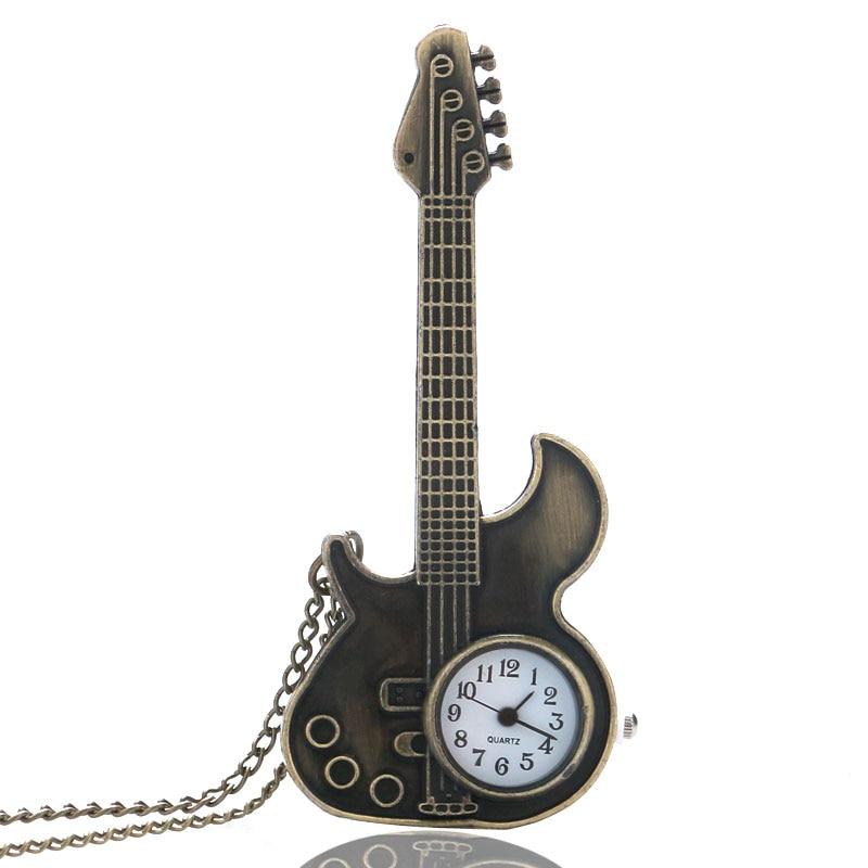 Antique Bronze Copper Guitar Shape Quartz Pocket Watch Vintage Necklace Pendant Clock For Man Women Gift Reloj De Bolsillo P130