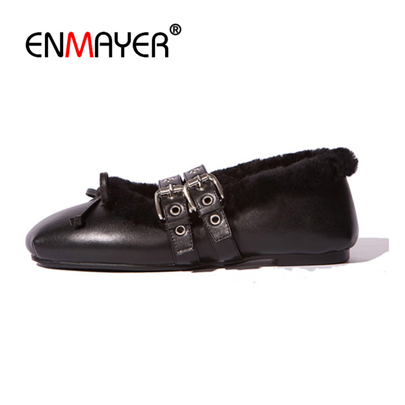ФОТО ENMAYER Genuine Leather Shoes Woman Winter Flats Zapatos Lujo Mujer Bowties Charms Double Buckle Strp Black Pink Nude Shoes Flat