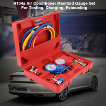 Oversea R134a Air Conditioner A/C Manifold Gauge Set with 5ft Charging Hose Tool Manifold Gauge Set Hose Car Accessories недорого
