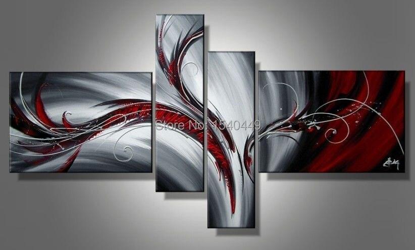 4 pezzo dipinto a mano quadri moderni pittura a olio ...
