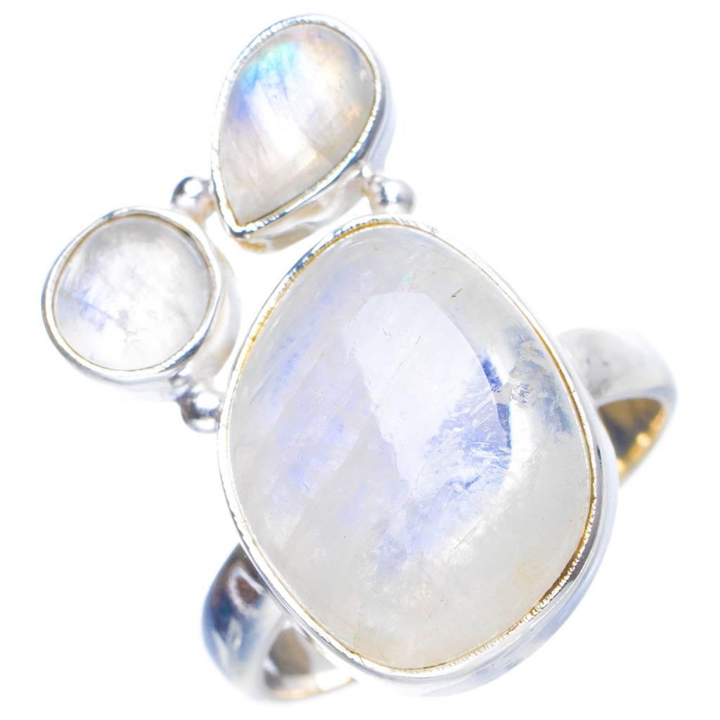 Natural Rainbow Moonstone Handmade Unique 925 Sterling Silver Ring 7.25 Y4201 natural rainbow moonstone handmade unique 925 sterling silver ring 6 75 y4681