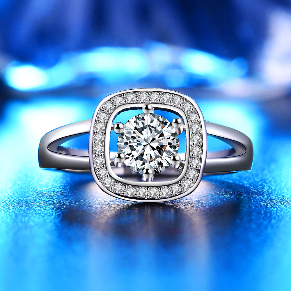Size 5&10 sterling-silver-jewelry Wedding Solid Ring Women with Double layer snowflake cz anel Engagement Ring JZ82