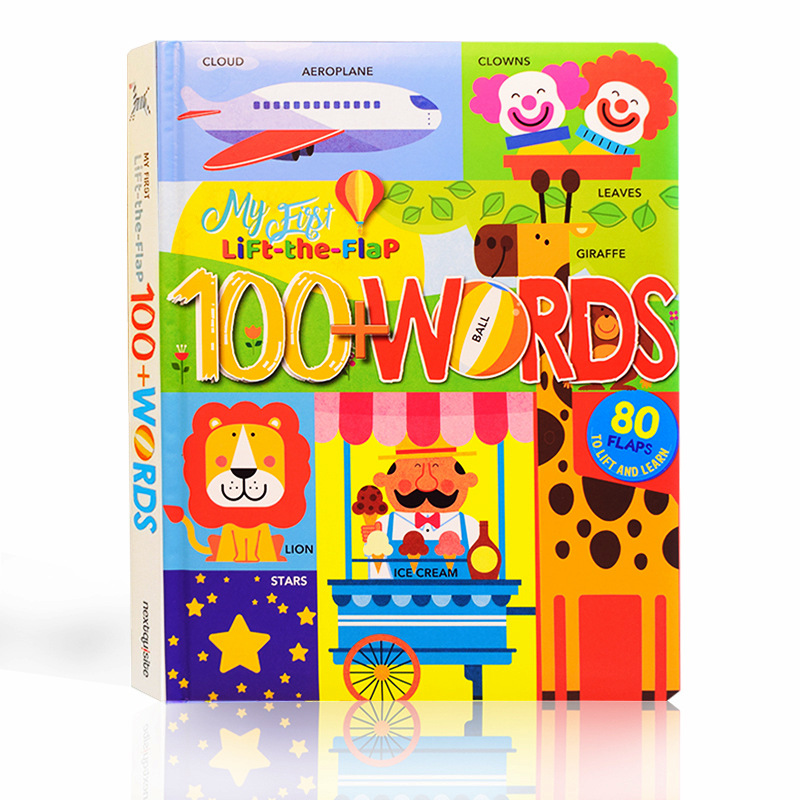 My First Lift The Flap 100 WORDS English Educational 3D Flap Picture Books Baby Children Reading Book