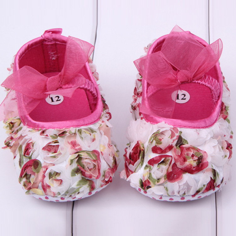 Wholesale 2016 Spring New Cute Baby Girls Shoes Lace First Walkers Princess Flowers Baby Shoes Free Shipping 3pcs/lot