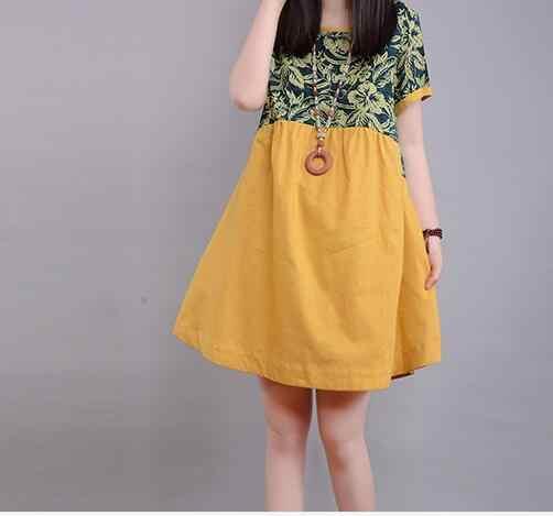 Mode Katoen O-hals Moederschap Jurken Zomer Zwangerschap Jurk voor Zwangere Vrouwen Plus Size Losse Moederschap Kleding jurk