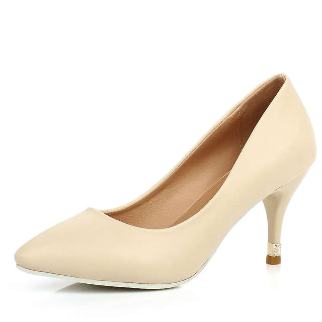 Shallow Office Shoes Concise Solid Pu