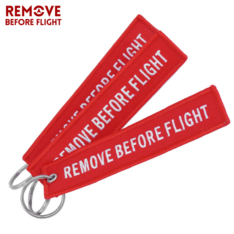 Remove Before Flight Key Chain Chaveiro Red Embroidery Keychain Ring for Aviation Gifts OEM Key Ring Jewelry Luggage Tag Key Fob b
