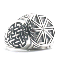Size 6 To Size 14 18mm Unisex Cool 925 Silver Vikings Slavic Amulet Wheel Ring
