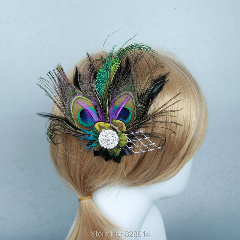 Vintage Artificial Feather Sexy Women Hair Clip WIth Rhinestones Handmade Bridal Headpiece HB8013