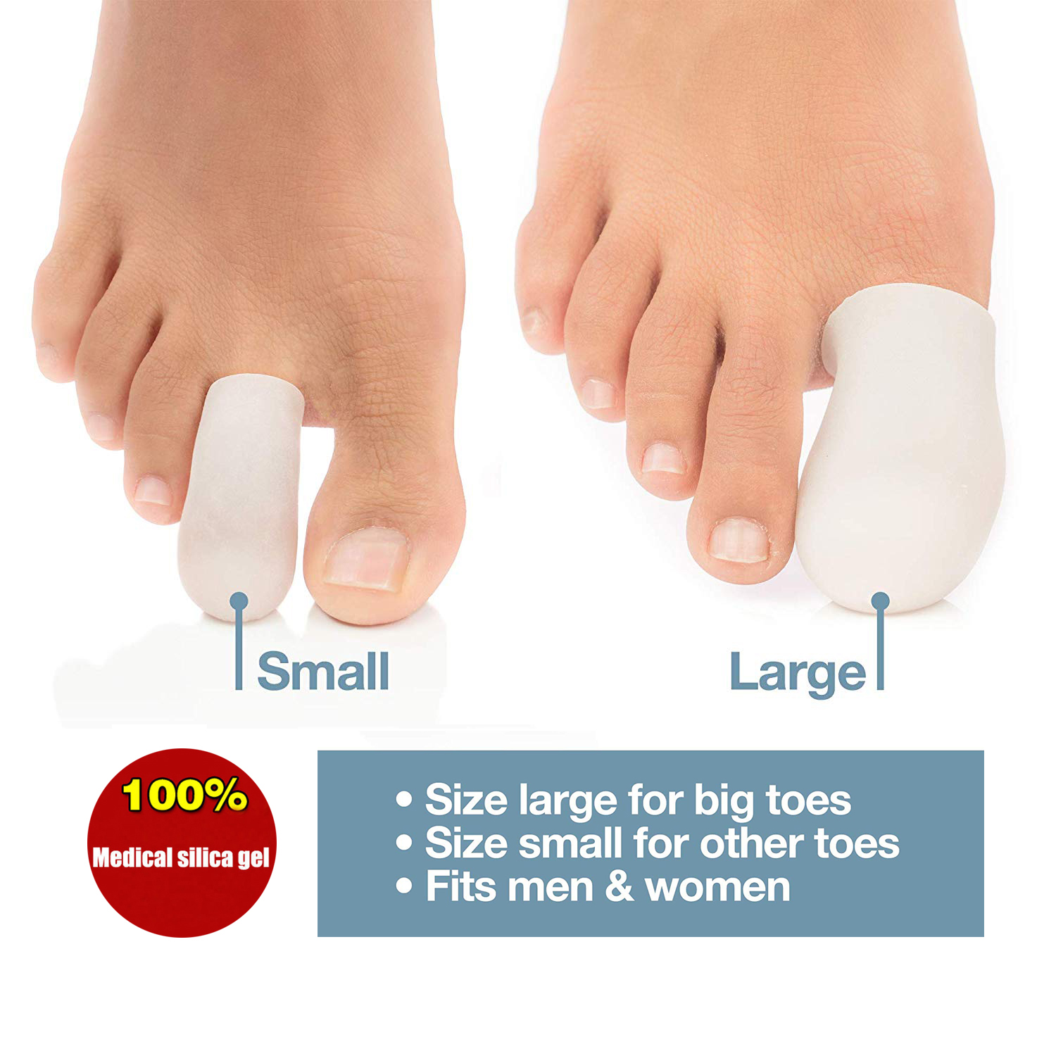 2Pairs Gel Toe Caps Corns Blisters protector Pies Silicone gel Bunion Guard Foot care finger Massager image