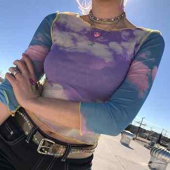 Camiseta de malla con estampado de nubes de cielo azul para mujer crop top transparente casual Camiseta de verano 2019 patchwork Camiseta sexy para mujer Camiseta