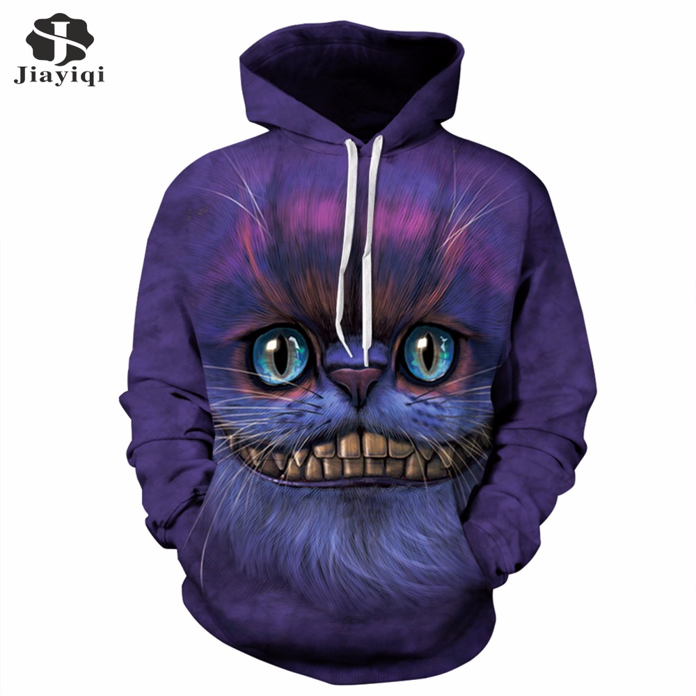 JIAYIQI Autumn Winter Womens Sweatshirt 3D Cheshire Cat Printed Sweatshirts Casual Long Sleeve Women Hoodies With Hat 2017 ...