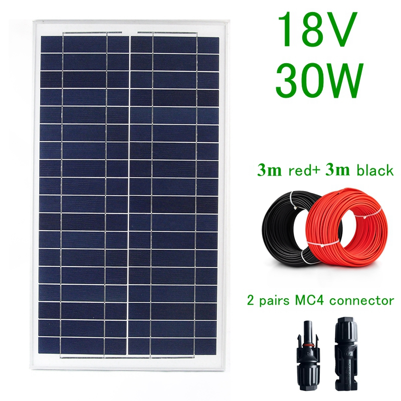 Poly 18V 30W Solar Panel Solar Cell Solar Charger for 12V Battery with 6M Cable 30W Solar Module Drop Shipping