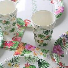Talheres tropicais descartáveis, utensílios para festa de verão, palmeira verde, flamingo, copo, guardanapo, havaiano, decoração de casamento