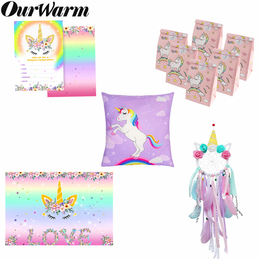 Ourwarm Kartun Unicorn Dekorasi Pesta Set Unicorn Dream Catcher Tas Hadiah Permen Kotak Latar Belakang Bayi Shower Anak-anak Ulang Tahun Favor