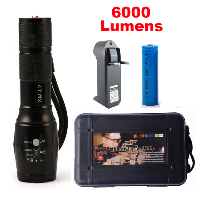 6000LM Flashlight LED CREE XM-L2 Tactical Flashlight Aluminum Torch Zoomable Camping Light Lamp For 3XAAA or 18650 Battery