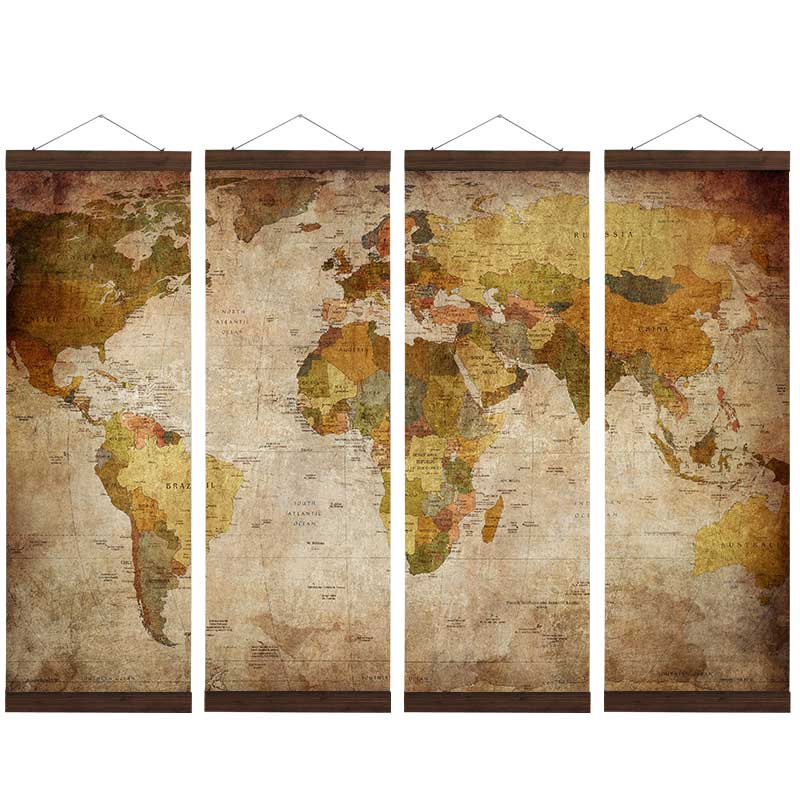 Artryst Vintage Scroll Pictures Geography World Map Canvas Print Painting Wall art Shabby Chic Poster Library Home Decor NJZ011